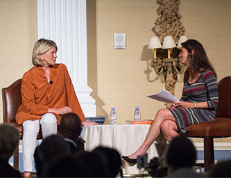 "Susan interviewing Martha Stewart in front of an audience of 500 people at Robert Wood Johnson University Hospital's ""2014 HealthFest"" event in Somerset, NJ on June 30th (photo by Ron Wyatt)"