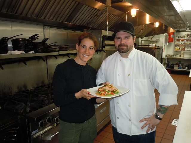"Susan in the kitchen with Dave Syminiuk, Executive Chef of award-winning restaurant ""Fish"" in Asbury Park, NJ"