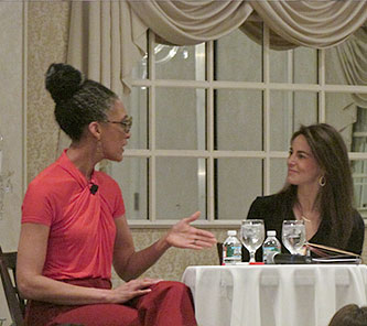 Celebrity chef and The Chew star Carla Hall fields question from interview moderator Susan in front of an audience of 350 at a heart health event in NJ in February 2015