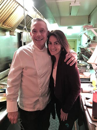 Susan with celebrity chef Scott Cutaneo at his newest venture, 57 Main in Oldwick, NJ, in April 2016