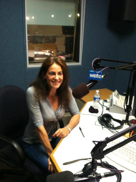 "Susan hosting a segment on ""Stress Reduction"" on WCTC Radio in June 2012"