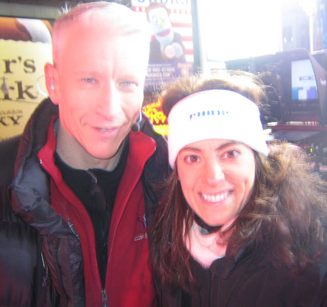 Susan with CNN Anchorman Anderson Cooper at Times Square Ball festivities in New York City in 2007