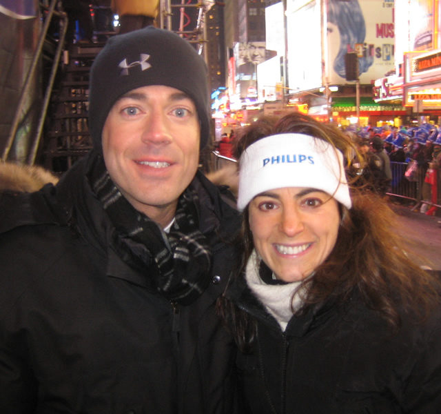 Susan with TV host Carson Daly at New Year's Eve festivities in New York City in 2007