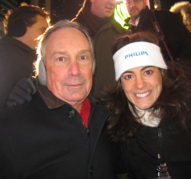 Susan with former New York City mayor and 2020 presidential candidate Michael Bloomberg at New Year's Eve festivities in New York City in 2007