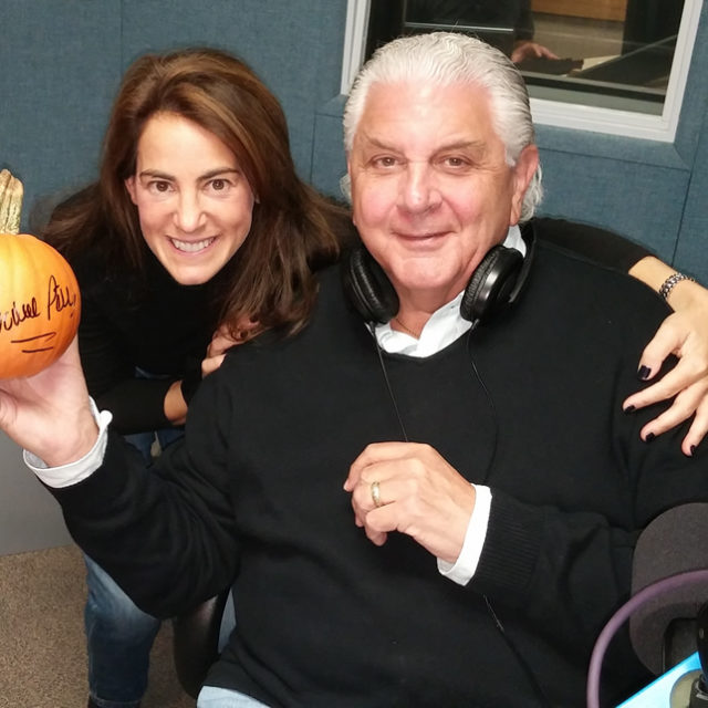 Susan on air at WCTC Radio with 'Produce Pete' Napolitano