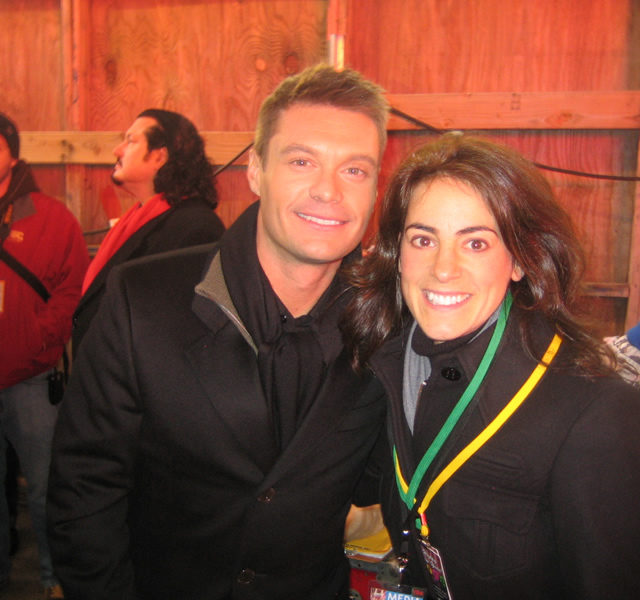 Susan with TV host Ryan Seacrest at New Year's Eve festivities in New York City in 2007