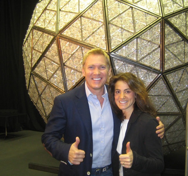 Susan with Good Morning America weatherman Sam Champion at Times Square Ball festivities in New York City in 2007
