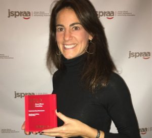 Susan winning her third consecutive Gold Award for 'Excellence in Writing, Feature Story' from the Jersey Shore Public Relations & Advertising Association (JSPRAA) in 2015
