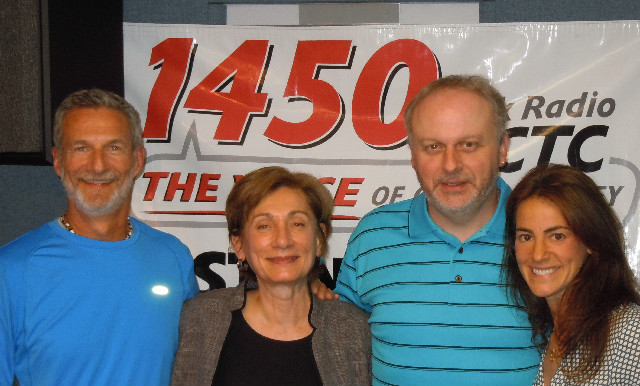 "Susan with Atlantic Club personal trainer Tom Manni, Monmouth Medical Center Health Instructor Carol Palmer, and Bert Baron, host of WCTC Radio show ""New Jersey Today"" following their June 4th, 2012 segment on ""Reducing Stress."""