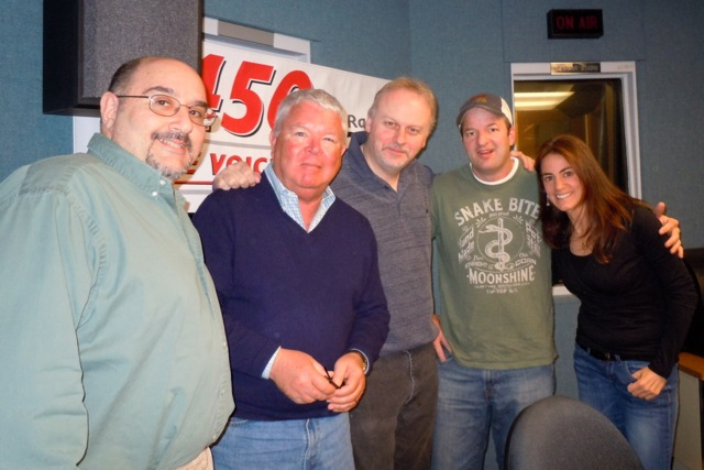 Susan with Chef Jimmy Vena, Jersey Shore Restaurant Week founder Jim Flynn, WCTC Radio Host Bert Baron, and Chef Chris Brandl following their April radio segment