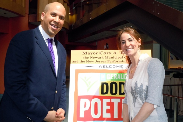 Susan with Newark, NJ Mayor Cory Booker at the press conference for the 2012 Dodge Poetry Festival in Newark (April 2012)
