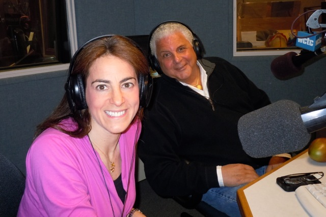 "Susan during a WCTC radio broadcast with NBC ""Weekend Today in New York"" fruit and vegetable guru ""Produce Pete"" Napolitano"