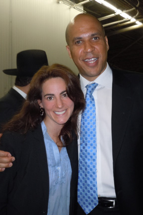 Susan with Newark Mayor Cory Booker on location at the opening of The Manischewitz Company's new headquarters facility on 6/14/2011