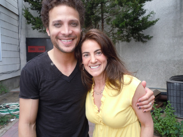 Susan on location with ex American Idol Justin Guarini in Beach Haven, NJ, where Justin played a lead in the Surflight Theatre's production of Rent in June 2011