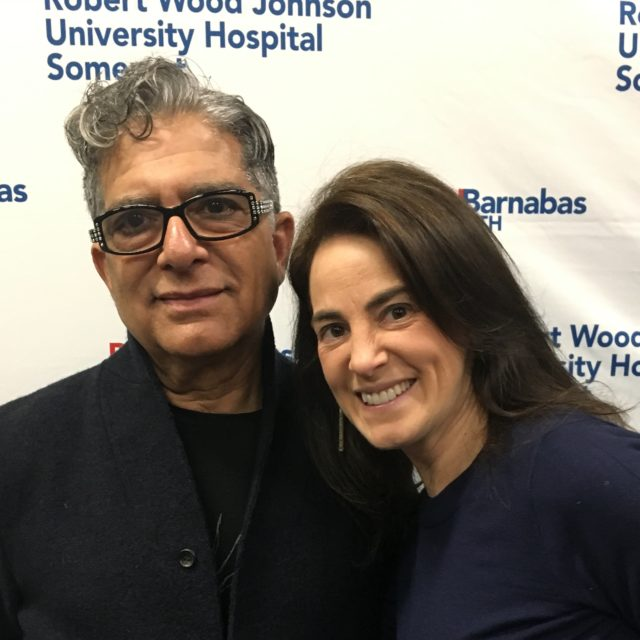 Susan with doctor, author, and alternative medicine guru Deepak Chopra following their interview in 2019